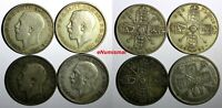 Great Britain George V Silver LOT OF 4 COINS 1920-1930 Florin KM# 817a KM# 834