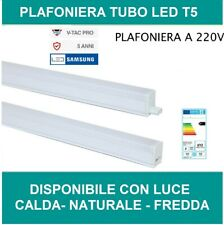 PLAFONIERA LED T5 V-TAC  NEON TUB LED  4w 7w 16w  30 60 120 cm CON INTERRUTORE