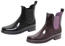 Damen Lack Stiefeletten Gummistiefel Chelsea Jelly Boots Schuhe Regenstiefel