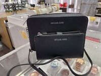 NWT Michael Kors Jet Set Travel Large Crossbody & Double Zip Wallet Black Silver