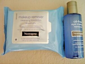 Neutrogena Oil-Free Eye Make-Up Remover 3.8fl + 21 Cleansing Towelettes LOT of 2