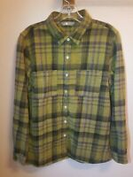 The North Face Women's Plaid  Flannel  Button Down Shirt Size L  Yellow/Multi