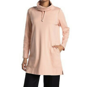 Eileen Fisher Petal Pink Organic Cotton Funnel Neck Top Tunic Sz S  $188 NWT