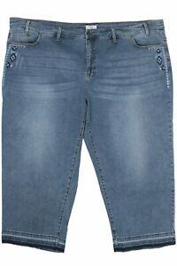 Sheego 7/8 Stretch Jeans Die Schmale Cropped Slim Fit Ladies Denim Blue Size 58