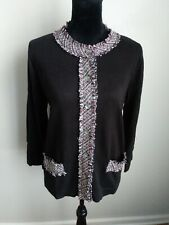 Evan Picone New With Tags Black Cardigan Sweater Tweed Trim Size Large