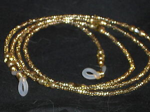 "Eyeglass Chain Handmade Champagne Gold~Crystal Accents~NEW~28"" Buy 3 SHIP FREE"