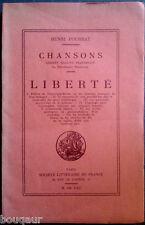 Henri POURRAT - Chansons Liberté - RARE Edition originale 1922 - Auvergne Basse