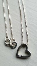 """Sterling Silver and Cubic Zirconia Floating Heart Pendant  & 15"""" Sterling Chain"""