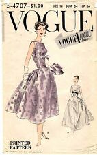 Vintage 1950s Vogue Special Design Pattern Women's EVENING DRESS S-4707 14 UNCUT