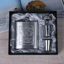7oz Flasque à alcool en acier inoxydable Flacon de poche + entonnoir et 2 verres