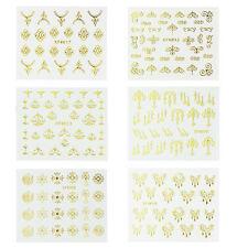 6 Sheets 3D Gold Decal Stickers DIY Nail Art Decoration Tips Manicure Stickers