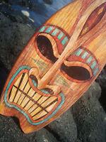 ANGRY TIKI GOD TROPICAL HAWAIIAN ISLAND SURFBOARD SIGN Beach Bar Wood Decor NEW