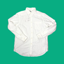 Uniqlo Mens Flannel White Cotton Shirt Size Medium Long Sleeve