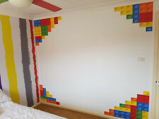 LEGO Border Wall corners children bedrooms wall decor Removable decal sticker
