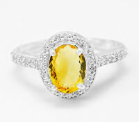 925 Sterling Silver Ring Natural Citrine Halo Gemstone Size 4 - 11