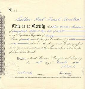 UNITED KINGDOM 1934 RUBBER HEEL TRUST Ltd. Zertifikat Nr. 18!!! über 60 Gründer