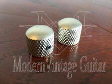 2 - Modern Vintage Guitar  Dome Top Knurled Knobs Nickel Satin