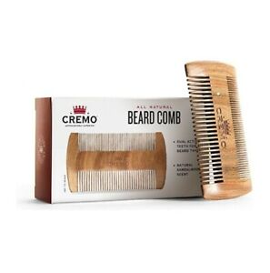 Cremo 100% Sandalwood Dual-Sided Beard Comb Static Free Wont Pull Or Snag Facial