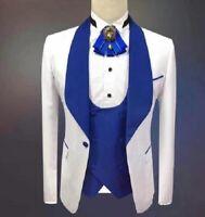 White Blue Men Suits Wedding Groom Tuxedo Shawl Lapel Jacket Blazer Vest