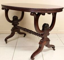 ANTIQUE MAHOGANY SOFA CENTRE HALL TABLE OVAL CIRCA 1880 HARP SUPPORTS