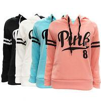 Women Casual Long Sleeve Cotton Hoodie Sweatshirt Pink Printed Pullover Top Coat
