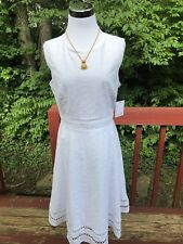 "New $129 ""Calvin Klein"" Size10 White Cotton Eyelet Embroided Summer Dress"