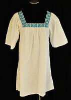 White Aztec Hippie Beach Embroidered Long Tunic Top Blouse Mini Dress Cover S