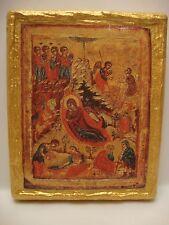 Nativity Jesus Christ Eastern Orthodox Religious Icon Art on Aged Wood Plaque
