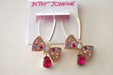 BETSEY JOHNSON BLING BLING PINK BOW EARRINGS MULTI COLORED STONES NWT