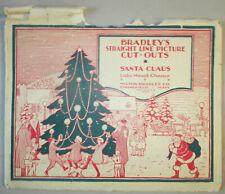 1924 Bradley's Santa Claus Cut Outs Milton Bradley 3D Christmas Village Scene