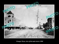 OLD LARGE HISTORIC PHOTO OF GRANGER TEXAS, VIEW OF THE MAIN STREET c1900