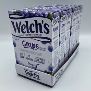 Lot of 6 Boxes Welch's Grape Juice Zero Sugar SINGLES TO GO Drink Mix