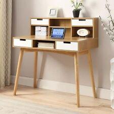 Modern Mid-Century Style Laptop Tablet Desk in White Oak Wood Finish