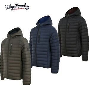 Men's Tokyo Laundry Quilted Puffer Jacket Hooded Puffa Bubble Coat Padded New