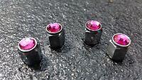 Pink Jewel Crystal Silver Diamond Tyre Wheel Valve Dust Caps x4 Car Bike BMX