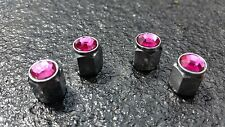 Pink Jewel Crystal Silver Diamond Tyre Wheel Valve Dust Caps x4 Car Bike BMX