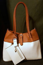 Wilson's 3pc set purse genuine leather LARGE bag with two additional items BONE