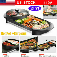 2 in1Portable Electric Hot Pot Barbecue Grill Non-Stick Teppanyaki Pan Soup US