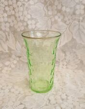 Vaseline Green Depression Glass Block Optic Style Tumbler, approx. 5""