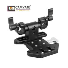 CAMVATE Quick Release V Lock Mount Battery Plate With Adjustable 15mm Rod Clamp