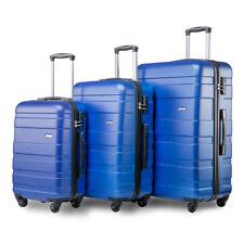 Travel Trolley Suitcase Luggage Set of 3 Lightweight Hardshell Case 4 Wheel Blue