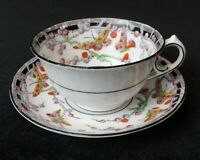 Vintage MELBA 3062 Bone China TEA CUP & SAUCER Butterflies, Berries & Black Trim
