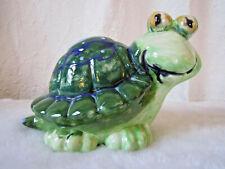 Vintage Ceramic Turtle Bank Hand Painted Green Big Eyes Mid Century
