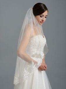 Ivory /white Bridal Wedding Veil Fingertip Alencon Lace Bridal Veils with Comb