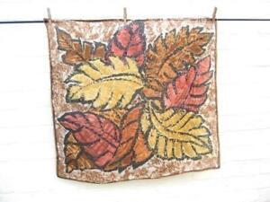 "Silk scarf   Leaf design   Rich earth colours   29"" square"