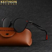 KEITHION TR-90 Fashion Polarized Sunglasses Mens Round Vintage Driving Glasses