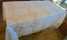Vtg.Antique Linen filet Lace Tablecloth,Madeira Embroidery Roses Banquet 104""