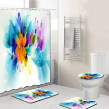 4 Pcs/Set Practical Shower Curtain Set Non Slip Mat Rugs for Bathroom Set Q