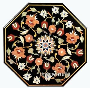 16 Inches Marble Bed End Table Top Carnelian Stone Flower Art Coffee Table Top