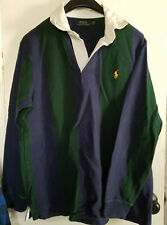 Ralph Lauren Polo Rugby Blue Green Stripe Long Sleeve Shirt Large Vintage